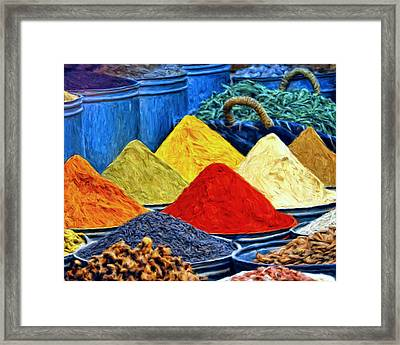 Spice Market In Casablanca Framed Print by Dominic Piperata