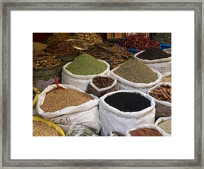 Spices And Lentils For Sale In Souk Framed Print by Panoramic Images