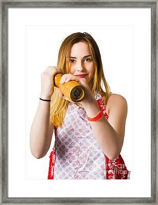 Spices Girl With Salt And Pepper Shaker Framed Print