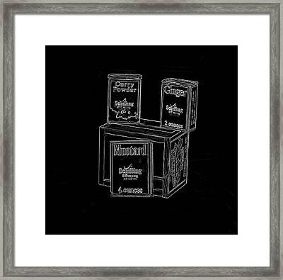 Spices On Black Framed Print by Pamela Walton