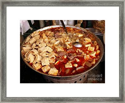 Spicy Tofu Dish With Duck Blood Cakes Framed Print