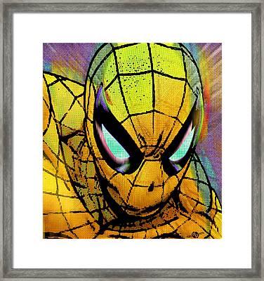 Spider-man Pop Gold Framed Print