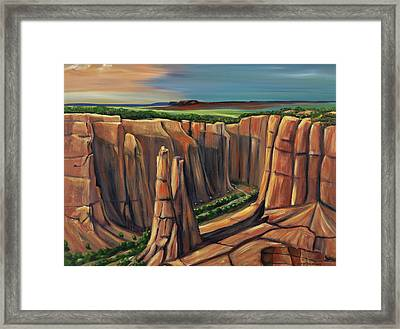 Spider Rock Canyon De Chelly Ar Framed Print by George Chacon