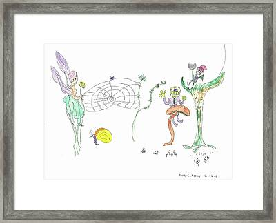 Spider Web And Fairies Framed Print