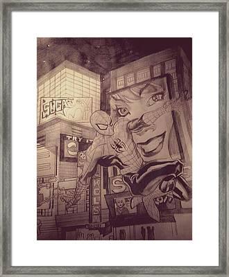 Spiderman Framed Print by Heather Blickley