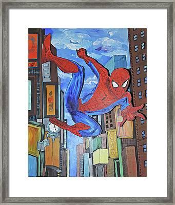 Spiderman Swings Framed Print