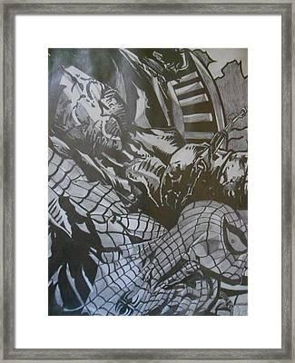Spiderman Vs. Dark Moon Framed Print by Christopher Schell