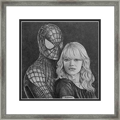 Spidey And Gwen Framed Print