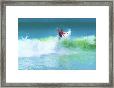 Spidey Surfs Too Surfing Watercolor Framed Print
