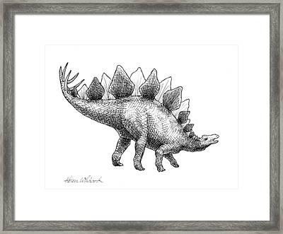 Spike The Stegosaurus - Black And White Dinosaur Drawing Framed Print