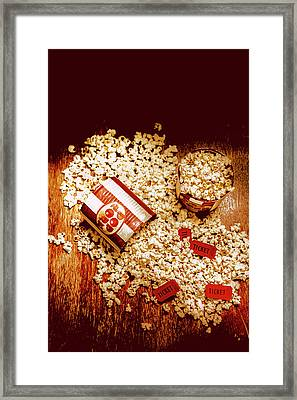 Spilt Tubs Of Popcorn And Movie Tickets Framed Print by Jorgo Photography - Wall Art Gallery