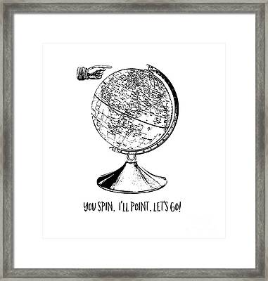 Spin The Globe Tee Framed Print by Edward Fielding