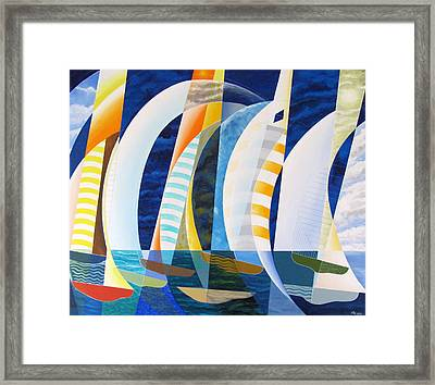 Framed Print featuring the painting Spinnakers Up by Douglas Pike