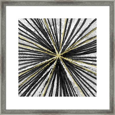 Spinning Black And Gold- Art By Linda Woods Framed Print by Linda Woods