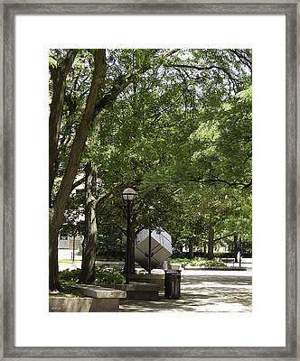 Spinning Cube On Campus Framed Print