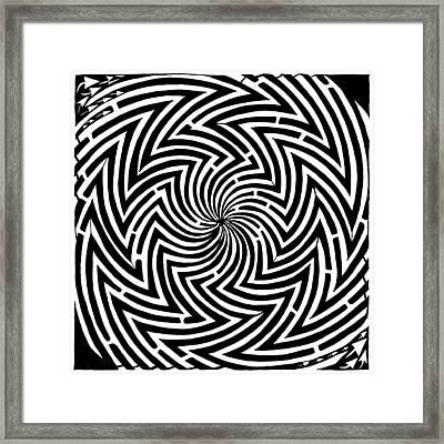 Spinning Optical Illusion Maze Framed Print by Yonatan Frimer Maze Artist
