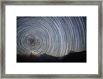 Spinning Stars Above Himalayas Framed Print