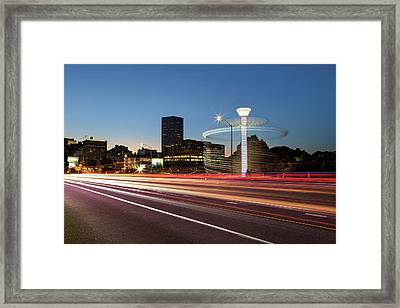 Spinning Swing Chair Carnival Rides Long Exposure Framed Print