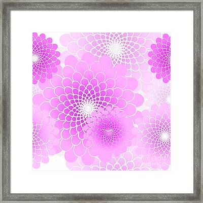 Spiral Flowers Leaves Pattern, Geometric Magenta Pink Floral Framed Print by Tina Lavoie