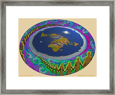 Framed Print featuring the painting Spiral Of Souls Flat Earth by Hidden Mountain