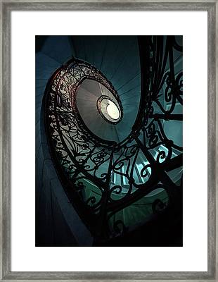 Framed Print featuring the photograph Spiral Ornamented Staircase In Blue And Green Tones by Jaroslaw Blaminsky