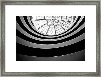 Spiral Staircase And Ceiling Inside The Guggenheim Framed Print by Sami Sarkis