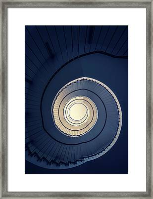 Framed Print featuring the photograph Spiral Staircase In Blue And Cream Tones by Jaroslaw Blaminsky
