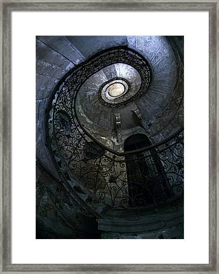 Spiral Staircase In Blue And Gray Tones Framed Print by Jaroslaw Blaminsky