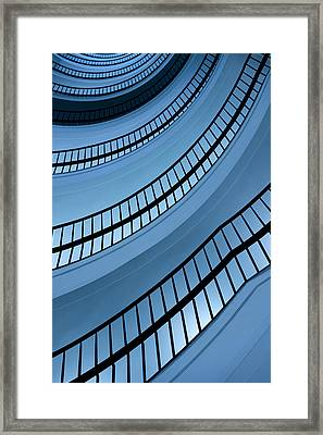 Spiral Staircase In Blue Tones Framed Print