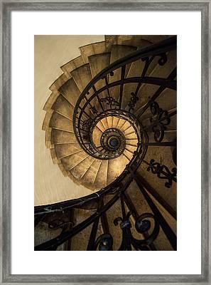 Spiral Staircase In Brown And Beige Tones Framed Print by Jaroslaw Blaminsky