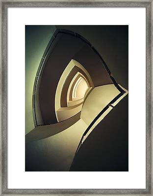 Spiral Staircase In Brown And Cream Colors Framed Print