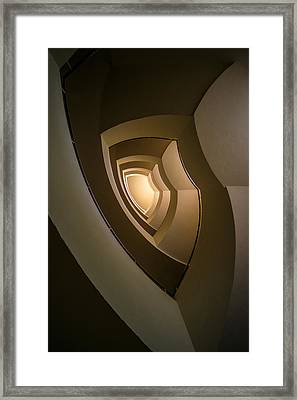 Spiral Staircase In Brown And Golden Tones Framed Print