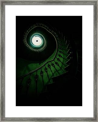 Spiral Staircase In Green Tones Framed Print