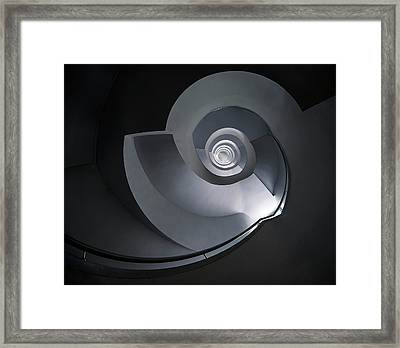Spiral Staircase In Grey And Blue Tones Framed Print by Jaroslaw Blaminsky