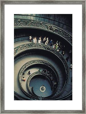 Spiral Staircase In Vatican 2 Framed Print by Carl Purcell