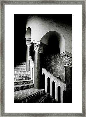 Spiral Stairs- Black And White Photo By Linda Woods Framed Print