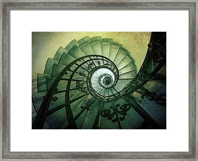 Framed Print featuring the photograph Spiral Stairs In Green Tones by Jaroslaw Blaminsky