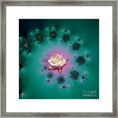 Spiral To A Rose Fractal 140 Framed Print by Rose Santuci-Sofranko