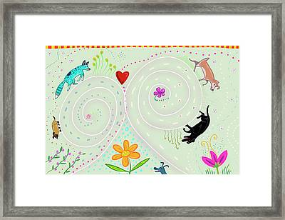 Framed Print featuring the digital art Spirals Of Dogs by Marti McGinnis