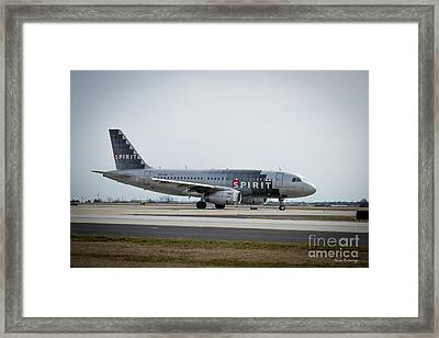 Framed Print featuring the photograph Spirit Airlines A319 Airbus N523nk Airplane Art by Reid Callaway