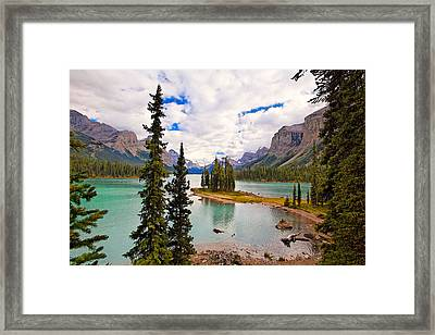 Spirit Island View Alberta Canada Framed Print by George Oze