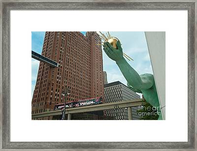 Spirit Of Detroit And People Mover Framed Print