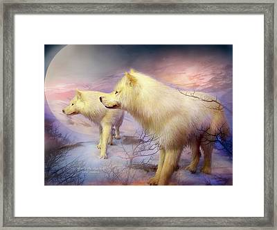 Spirit Of The White Wolf Framed Print by Carol Cavalaris