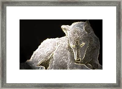 Framed Print featuring the mixed media Spirit Wolf by Debra     Vatalaro