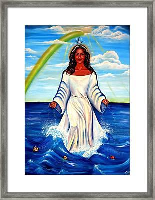 Spiritual Yemaya -goddess Of The Sea Framed Print by Carmen Cordova
