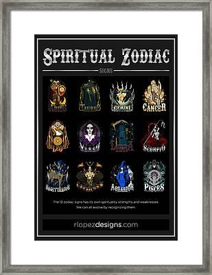 Framed Print featuring the digital art Spiritual Zodiac Signs by Raphael Lopez