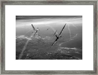Spitfire And Bf 109 In Battle Of Britain Duel Bw Version Framed Print