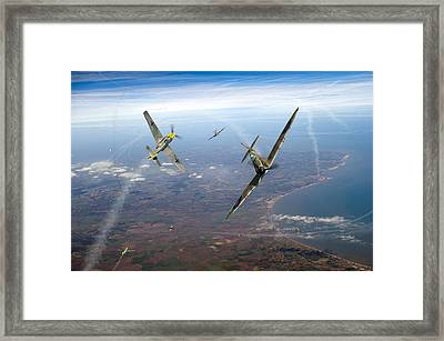Spitfire And Bf 109 In Battle Of Britain Duel  Framed Print by Gary Eason