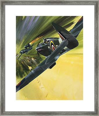 Spitfire And Doodle Bug Framed Print by Wilf Hardy