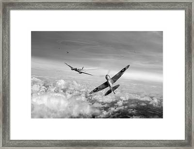 Spitfire Attacking Heinkel Bomber Black And White Version Framed Print
